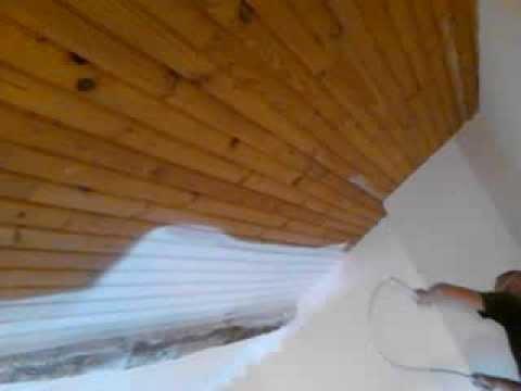 A k d co peinture d 39 un plafond en lambris au pistolet - Video comment peindre un plafond ...