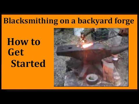backyard blacksmithing on home made forge - YouTube