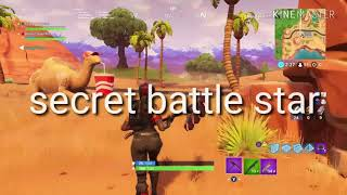 FORTNITE search between gas station soccer pitch and stunt mountain/Secret battle star