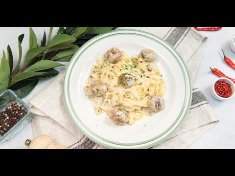 Тефтели из индейки с тальятелле в сливочном соусе | Дежурный по кухне