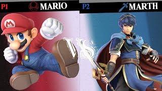 Super Smash Bros. Ultimate - Mario vs Marth - HD Gameplay