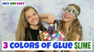 3 Colors of Glue Slime Challenge ~ Blindfolded ~ Jacy and Kacy