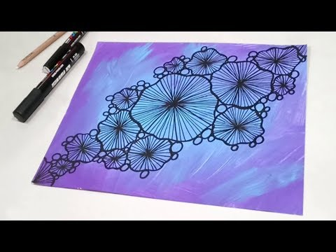Zen Doodling Tutorial - Abstract Sea Urchin Drawing with Paint Pens