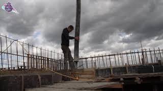 יציקת בטון בגג בית הספר היסודי החדש בבית אלפא