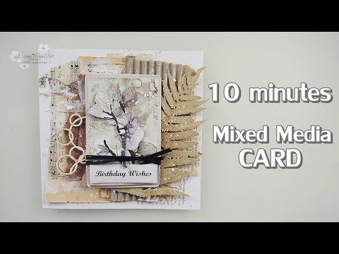Recycled Vintage Mixed Media CARD in 10 minutes ♡ Maremi's Small Art ♡