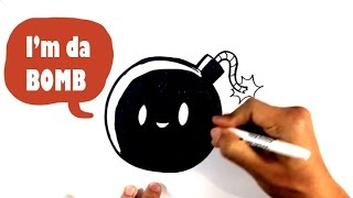 How to Draw a Cute Bomb - Da Bomb - Easy Pictures to Draw