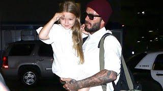 David Beckham Carries Daughter Harper Through LAX