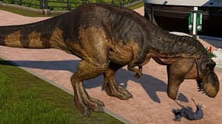 Jurassic World Evolution - T-Rex & Spinosaurus Breakout & Fight! (1080p 60FPS)