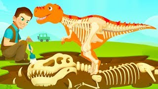 Fun Jurassic Dig Game - Kids Find Dinosaur Bones With Cute Vehicles - Dino Game For Kids - YouTube