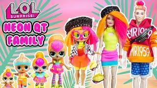 Neon QT Family DIY Custom Fun Craft With Barbie and Ken Dolls