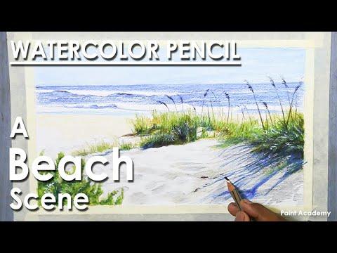 Watercolor Pencil Landscape : A Beach Scene