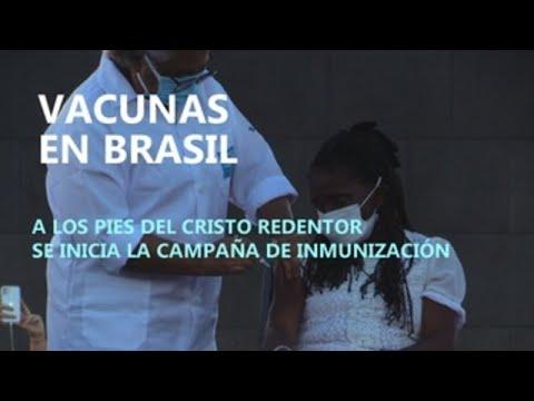 Vacunas en Brasil, a los pies del Cristo Redentor se inicia la campaña de inmunización