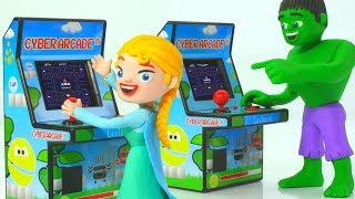 HULK & FROZEN ELSA PLAY VIDEO GAMES ❤ Spiderman, Hulk & Frozen Elsa Play Doh Cartoons For Kids
