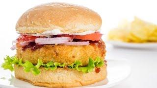 Veggie Burger Recipe   Indian Style Veg Aloo Tikki Burger Recipe