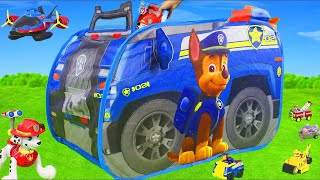 Paw Patrol Unboxing: Fireman Marshall Play Tent Rescue, Chase, Ryder & Skye Pup Toys for Kids