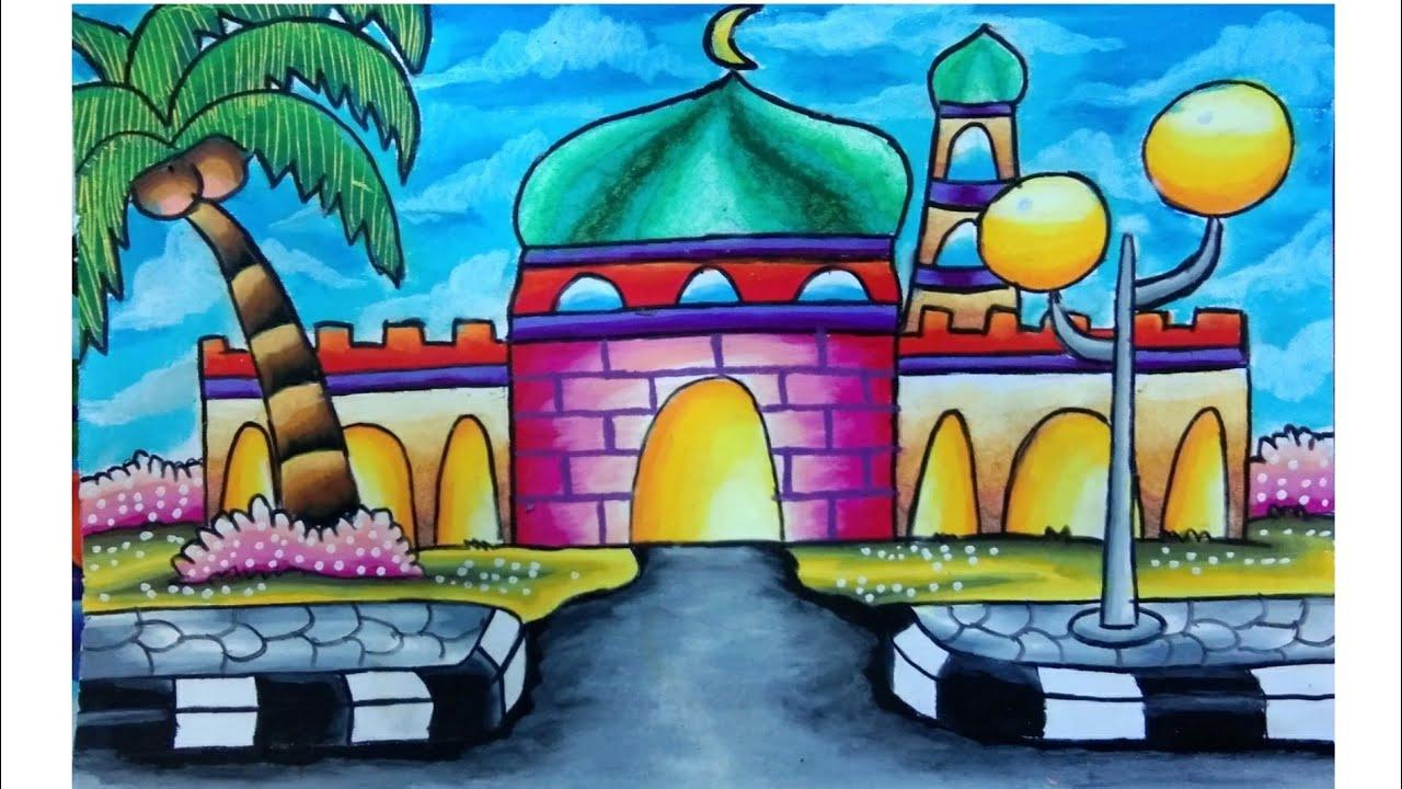 Cara Menggambar Dan Mewarnai Masjid Dengan Sederhana