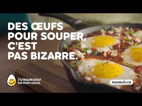 Des œufs pour souper, c'est pas bizarre. Si vous trouvez ça bizarre, vous êtes bizarre.  J'craque pour toi mon coco! www.lesoeufs.ca