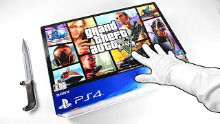 """PS4 """"GRAND THEFT AUTO V"""" UNBOXING! PlayStation 4 GTA 5 Console + Cyberpunk 2077 Gameplay"""