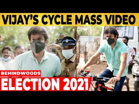 TN elections: Fans mob as Thalapathy Vijay arrives on cycle to vote at polling booth