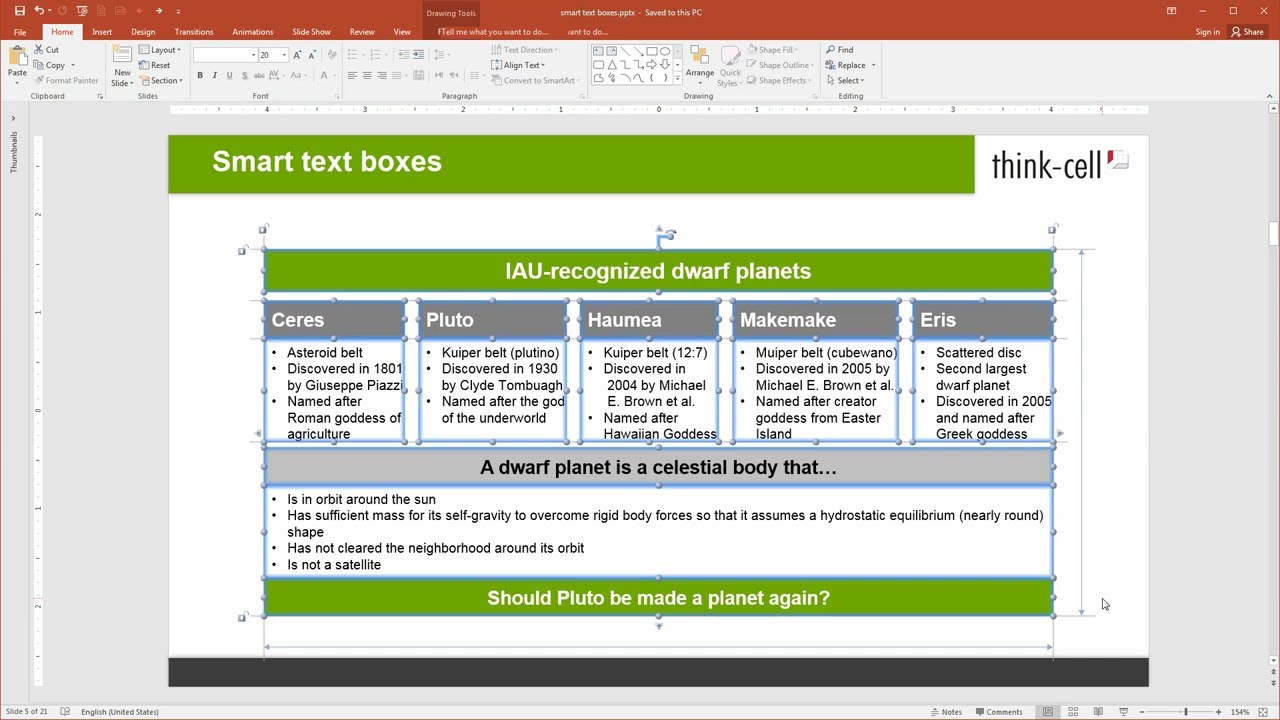 Features :: Charting, Excel data links and slide layout