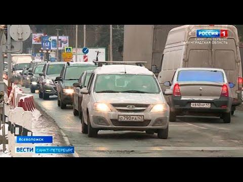 Колтушское шоссе пустили в объезд на время строительства нового путепровода