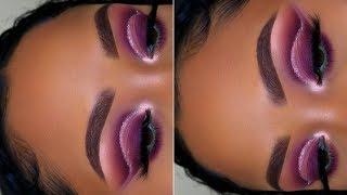 Purple Glitter Cut Crease   Huda Beauty NUDE Palette