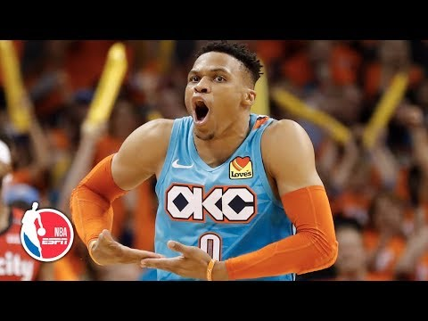 Russell Westbrook, Damian Lillard go at it in Thunder's Game 3 win | NBA Highlights