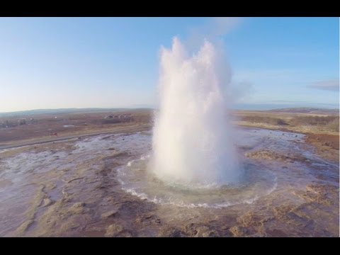 Aerial Iceland - The Great Geysir and Strokkur geysers, Golden Circle Route (DJI Phantom 2)