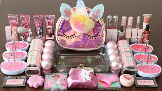 """Mixing""""Pink Unicorn"""" Eyeshadow and Makeup,parts,glitter Into Slime!Satisfying Slime Video!★ASMR★"""