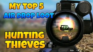 My top 5 Air drop looting ,Hunting thieves of Air drop pubg mobile,Abhishek gaming