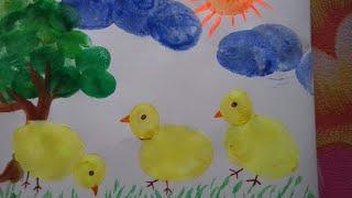 Potato painting art:how to draw chicks