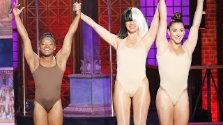 Simone Biles Suffers Wardrobe Malfunction On Lip Sync Battle Live w/ Olivia Munn & Michael Phelps