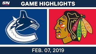 NHL Highlights | Canucks vs. Blackhawks - Feb. 7, 2019