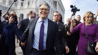 Franken takes parting shot at Trump in resignation speech