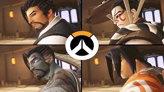 Overwatch - All Hanzo Skins with All Highlight Intros!