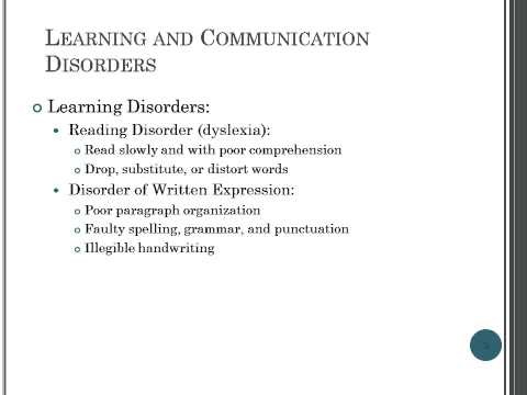 Childhood and Adolescence Intellectual Disability, Learning and Communication disorders