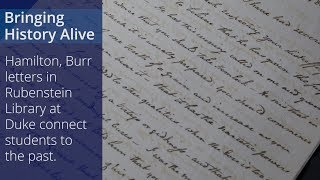 Hamilton, Burr Letters Bring History Alive video