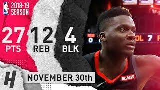 Clint Capela Full Highlights Rockets vs Spurs 2018.11.30 - 27 Pts, 12 Reb, 4 Blocks!
