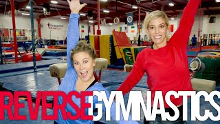 Reverse Gymnastics Challenge With Rebecca Zamolo + Shawn Johnson