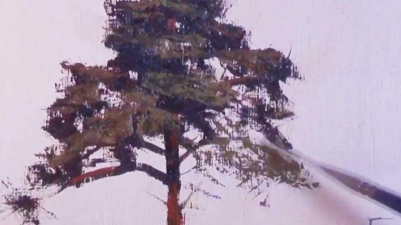How To Paint A Ponderosa Pine Tree Youtube