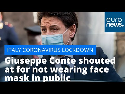 Italy in lockdown: PM Giuseppe Conte shouted at for not wearing face mask in public photo