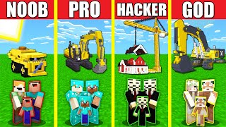 Minecraft Battle: CONSTRUCTION BUILD CHALLENGE - NOOB vs PRO vs HACKER vs GOD / Animation HOUSE BASE