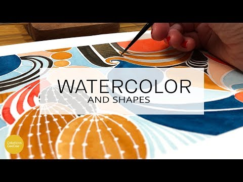 how to watercolor with basic shapes