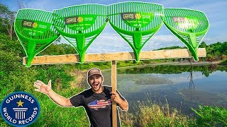 SAVING the Fish in My POND with a HOMEMADE Weed Rake!!! (Worlds Largest)