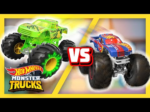 @Hot Wheels   Race Ace, Bigfoot, and Swamp Jungle's EPIC CHALLENGES   Monster Trucks ToT