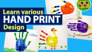 How to make various design with HAND PRINT | STEP BY STEP | Kids Drawing | TADA-DADA Art Club