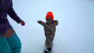 14 Month Old Johnny Utah Snowboarding at PCMR