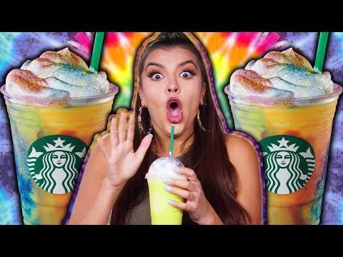 Starbucks TIE-DYE Frappucino Taste Test!