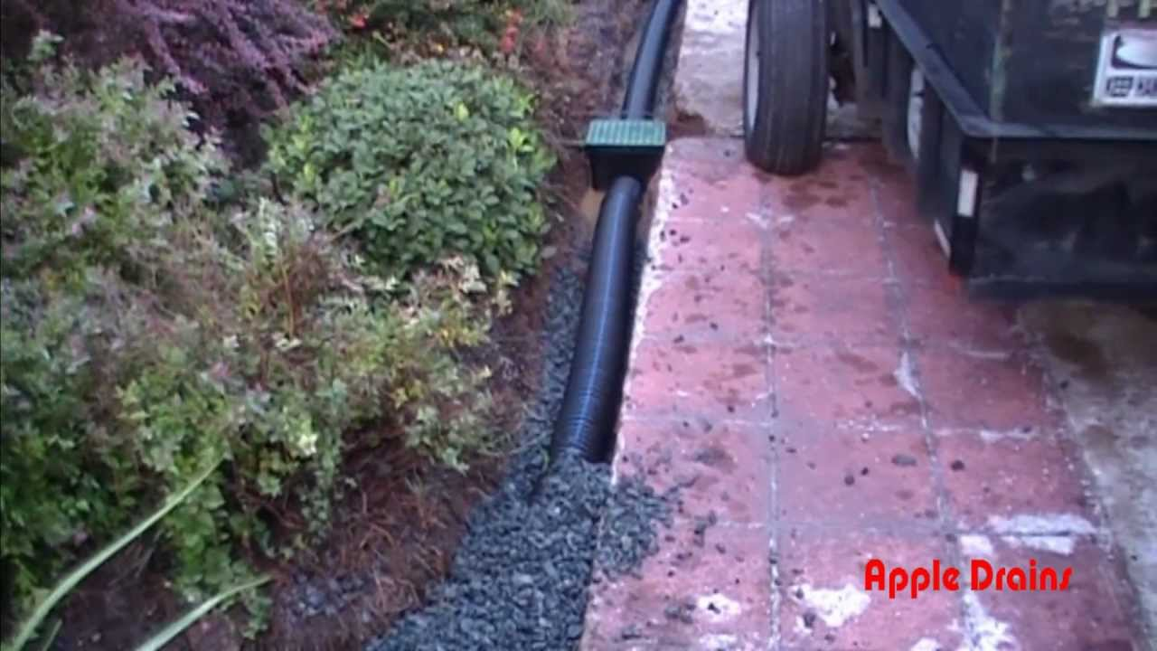Perforated Pipe Holes Point Down Yard Drain Gravel