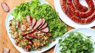 Nam Khao with Hmong Sausage (Crispy rice salad)